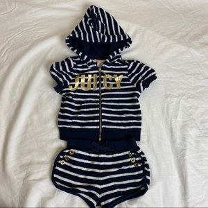 2T Juicy blue white striped shorts and hoodie set